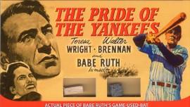 Movie Posters: Babe Ruth's Bat & Yankee Stadium Brick [Prop Card]